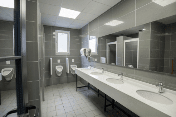a clean and empty office bathroom