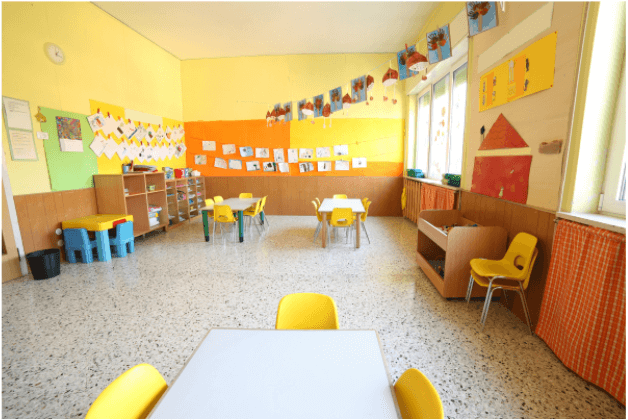 orange and yellow colorful daycare classroom for children