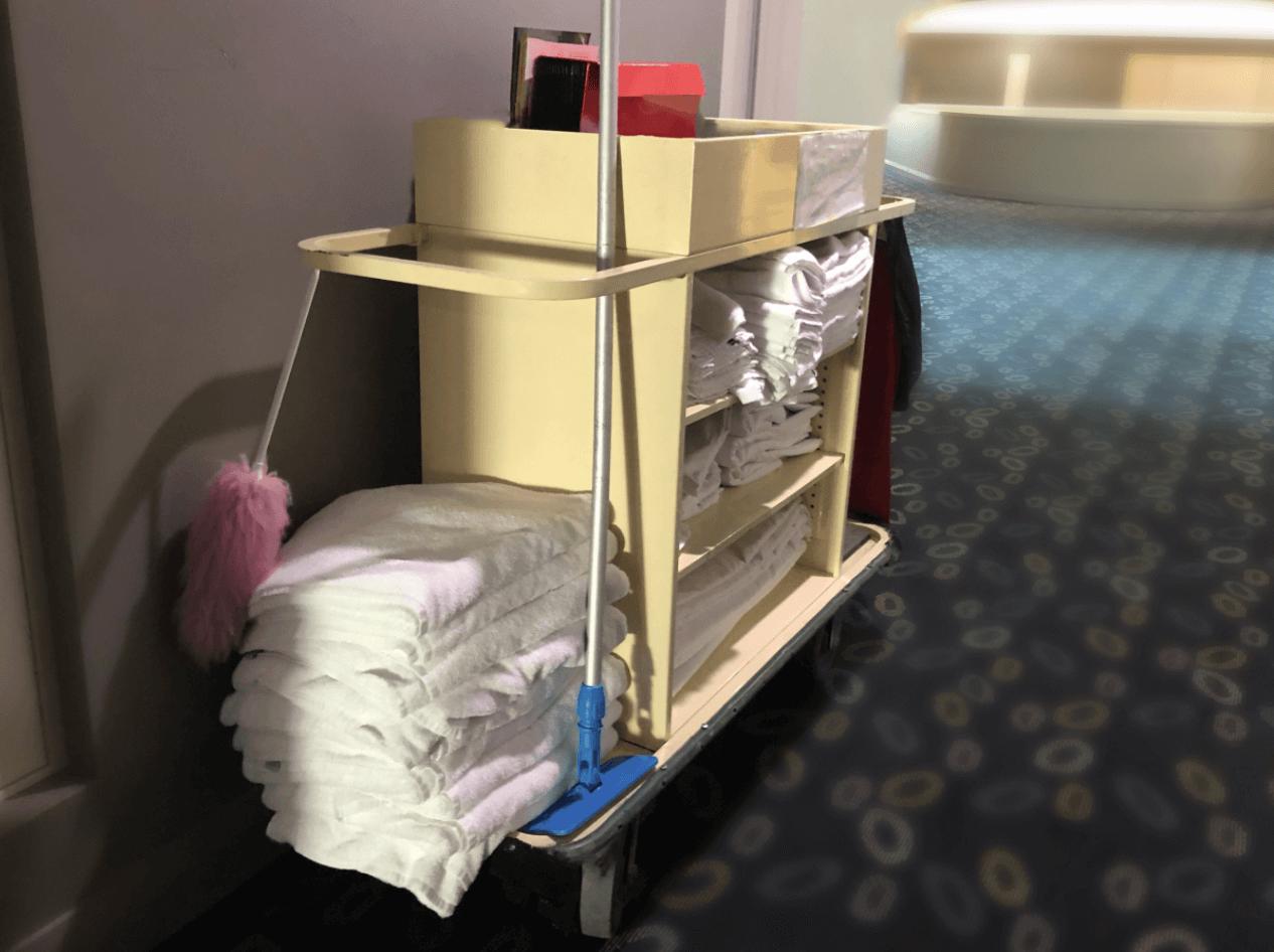 Janitor custodial cart on hotel floor