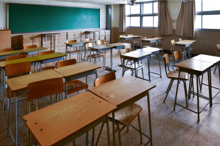 empty classroom and desks